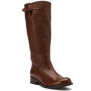 Cognac Vero Cuoio Leather Burnished Riding Boots